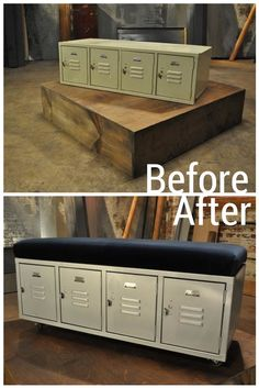 DIY Gym lockers makeover into bench seating. Great storage solution for shoes and bookbags.