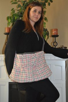 Rylo Pink and Gray Houndstooth Tweed bag with 2 front by RYLOwear, $32.00