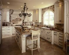 Kitchen:Beautiful Kitchen Design Idea Traditional Kitchen Style Design With Old White Island Cabinetry Granite Counteertop Marble Flooring Tile Chandelier With Recessed Light Panel Appliances Drawers Lockers Storages