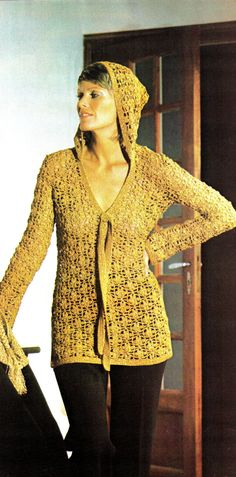 Vintage 70s Pattern Crochet HOODED Blouse  PDF by KinsieWoolShop, $3.20