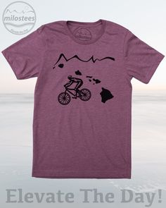 Bike HI home T-shirt by Milostees- Illustration of a cyclist riding the waves of the Pacific. Hand screen print on a cotton, polyester blend great for beach days in Honolulu or adventures on Mauna Loa! Elevate the day wear a more comfortable you! $21.99, free shipping in the USA. #HIshirt #KauaiTee