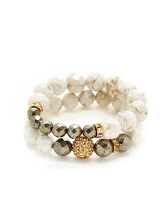 Set Of 2 White Turquoise & Pyrite Bead Stretch Bracelets by Very Me at Gilt