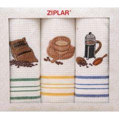Bílý set kuchyňských utěrek s motivem šálku kávy Towel, Print Fabrics, Block Prints