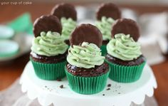 Chocolate cupcakes dipped in chocolate ganache and topped with minty Thin Mint cookie frosting! These Thin Mint Cupcakes are adorable and delicious!