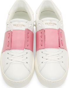 Valentino: White & Pink Low Top Sneakers | SSENSE