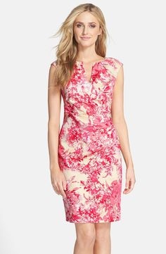 Floral Print Cotton Side Pleated Sheath Dress (Regular & Petite)