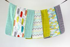 Baby Burp Cloth Gift Set of 3, Colorful Feathers, Chevron and Triangles by owesley on Etsy