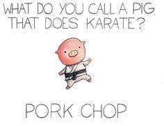 Pork chop funny kid jokes, kid puns, funny cheesy jokes, corny jokes for ki Cute Jokes, Cute Puns, Stupid Jokes, Funny Jokes For Kids, Silly Jokes, Dad Jokes, Funny Memes, Puns Hilarious, Funny Jokes To Tell