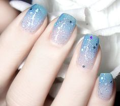 Color-Changing Nail Polish With Glitter, Blue to Transparent # 23801