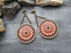 Leather earrings. Boho earrings. Bohemian by VelmaJewelry on Etsy