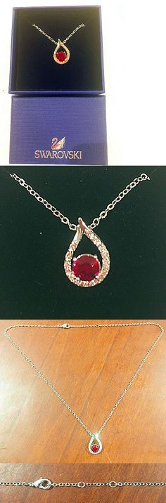 Necklaces and Pendants 155101: Swarovski Necklace - Red Crystal With Split Stone Pendant-Sliver Color Chain -> BUY IT NOW ONLY: $32 on eBay!