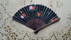 Small Handheld Fan Petite Black Roses Silk by GladStoneatHome