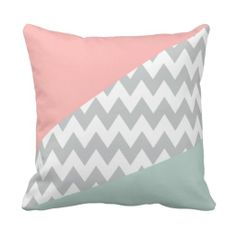 Grey Chevron - mint and coral