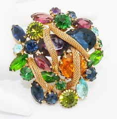 Broche Vintage Kramer Multi couleur or maille