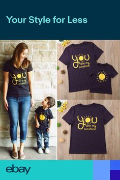 44fbe3229e37 US Stock Family Matching Outfits T-shirt you are sunshine Mommy Son Baby  Kid Top