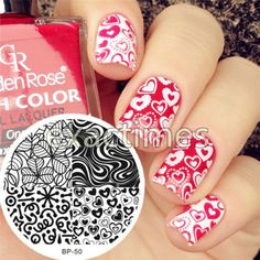 BORN-PRETTY-BP50-Heart-Leave-Texture-Nail-Art-Stamping-Template-Image-Plate