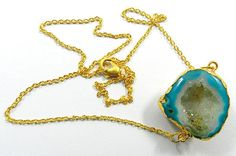 Stunning Agate Druzy gemstone pendant brass chain fashion women necklace jewelry #MagicalCollection #Pendant