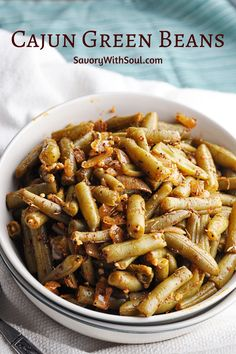 20 minutes · Gluten free · Serves 4 · These Cajun green beans are a delicious, spicy alternative to your average ho-hum green beans recipe. Super simple and quick to make, and you can tone down the heat or turn it up based on what your… More Cajun Green Beans Recipe, Recipe Using Canned Green Beans, Canned Green Bean Recipes, Spicy Green Beans, Can Green Beans, Southern Green Beans, Corn Recipes, Side Dish Recipes, Quiche Recipes