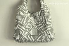 Geometric tote bag, BEAUCATCHER, shoulder bag, dark gray and white,