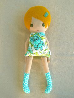 Fabric Doll Rag Doll Girl in Blue and Green Retro Floral Dress