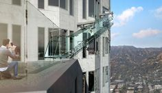 Skyslide LA, Skyspace LA, crazy glass slide, glass slide los angeles, glass slide US bank tower, OUE Limited bank slide, bank tower slide, Los Angeles observation deck,