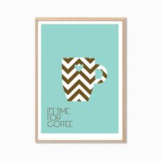 It's Time For Coffee Poster  Modern Illustration Retro by SealTypo, $22.00
