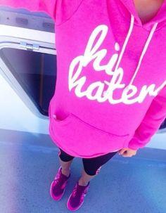 #pink 'hi haters' sweatshirt http://rstyle.me/n/kdu9ar9te
