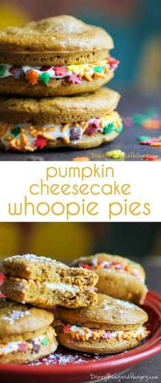 Pumpkin Cheesecake Whoopie Pies - Cute and delicious pumpkin treats with cream cheese filling, perfect for lunch boxes! Oreo Dessert, Pumpkin Dessert, Pumpkin Cheesecake, Mini Desserts, Easy Desserts, Delicious Desserts, Yummy Food, Best Dessert Recipes, Cookie Recipes