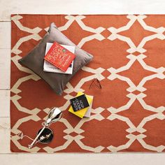 Lattice DHurrie rug in Rust - West Elm (for the living room?)