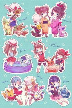 Female Pokemon Trainers and Eeveelutions.