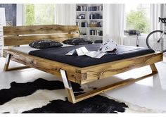 Doppelbett, 180x200cm, Wildeiche, geölt, Carina