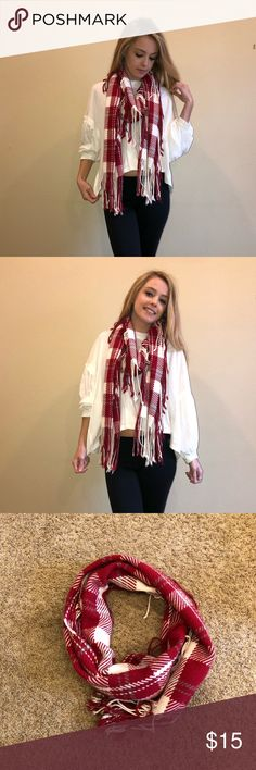 Red and White Plaid Scarf Red and white plaid scarf with strings hanging off. Is very fashionable and warm. One size. Accessories Scarves & Wraps