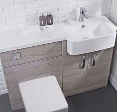 Combination Vanity Units tavistock courier rh havana oak, montana or white gloss vanity unit EARWEME - Kitchen Ideas Small Space Bathroom, Bathroom Design Small, Bathroom Layout, Bathroom Interior Design, Bathroom Photos, Family Bathroom, Modern Bathroom, Toilet Vanity Unit, Toilet And Sink Unit