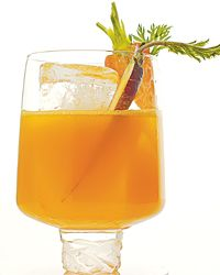 Carrot Colada  1 ounce white rum 1 1/2 ounces coconut water 1 ounce coconut rum 1 ounce carrot juice 1 ounce clementine or orange juice 1 or 2 halved baby carrots, for garnish (optional)