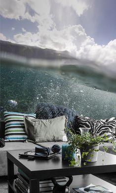 Prachtige blauwe tinten van de zee en de lucht vormen een mooie mix van het behang dat heet oppervlakte.