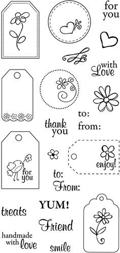 Card Tags, Gift Tags, Handmade Tags, Bullet Journal Ideas Pages, Paper Tags, Clear Stamps, Scrapbook Cards, Homemade Cards, Sewing Crafts