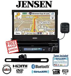 """Jensen VX7012 7"""" DVD Navigation Built In Bluetooth w/ SiriusXM Tuner and Antenna along with a Backup Camera and a FREE SOTS Air Freshener"""