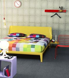Bedroom Trend 2013 - Colorful Rainbow Bedroom  - Auping Bed Essential Yellow & Bed Textile ZaZa Zoom Multi, also by Auping
