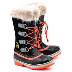 SOREL Youth Joan Of Arctic - Czarne Zamszowe Śniegowce Dziecięce - Buty Dzieci Śniegowce | Mivo
