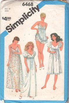 1980s Simplicity 6468 Misses Empire Waist Nightgown by mbchills