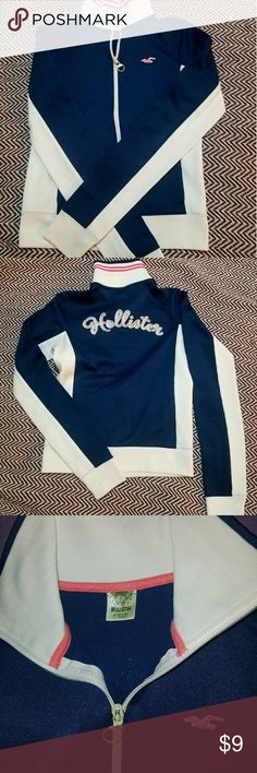 Hollister Track Jacket Hollister Navy Track Jacket with pink and white striped collar, Women's, Juniors, Size Small There is some wear on the pull part of the zipper but other than that it's in great condition!! Hollister Jackets & Coats
