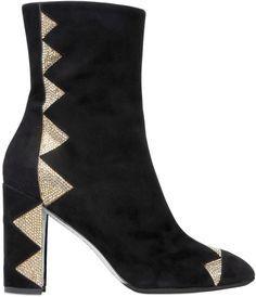 6765986bba77d RENÉ CAOVILLA, suede & swarovski ankle boots, Black, Luisaviaroma - Suede  and Swarovski crystal covered heel .