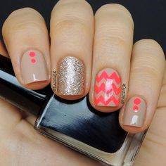 Nude and Neon Nail Design for Short Nails