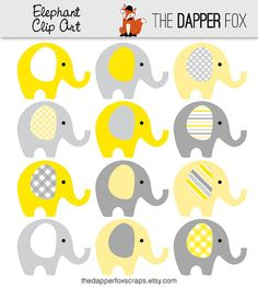Yellow and Grey Elephant Clip Art  INSTANT by TheDapperFoxScraps