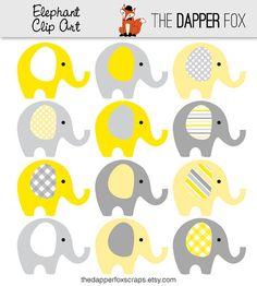 Amarillo y gris elefante Clip Art - descargar INSTANT - niño o niña bebé ducha gráfico elefantes