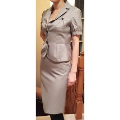 Banana Republic suit with blazer and pencil shirt Suit up to take on the day! I loved this outfit, get a lot of respect. The pencil skirt elongates legs for a powerful look. The gray pinstripe is great for a professional look too. Full disclaimer, there's a little pull in the back of skirt as shown in picture. This is freshly dry cleaned by organic cleaner. Banana Republic Other