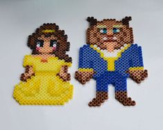 Share your love of Disneys Beauty and the Beast with these cute magnets! Belle and Beast (set of 2) Made from perler beads fused together with a magnet on the back. *UNIQUE MANDOG DESIGNS PATTERN* Please do not copy for reselling purposes.