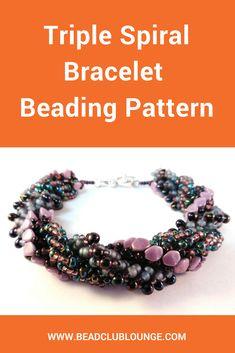 Triple Spiral Bracelet - Beaded Bracelet Patterns - Seed Bead Bracelet Patterns - Beading Tutorials and Patterns - Beadweaving Tutorial Beaded Necklace Patterns, Jewelry Patterns, Beading Patterns, Beaded Jewelry, Diy Jewelry, Jewelry Making, Beaded Necklaces, Jewelry Shop, Knitting Patterns
