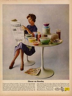Vintage ad, circa 1962, for Tupperware, which, apparently, gave users free time to read things. :)  Love the Saarinen table and tulip chair.