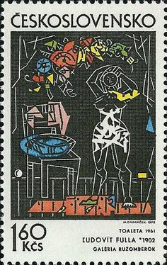 Stamp: Woman Dressing, by Ludovit Fulla (Czechoslovakia) (Czech and Slovak graphic) Mi:CS 1952 Postage Stamp Art, Stamp Printing, Stamp Collecting, Illustration, Gallery, European Countries, Prints, Czech Republic, Dressing